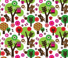 Deer owl sitting in a tree fabric by littlesmilemakers on Spoonflower - custom fabric