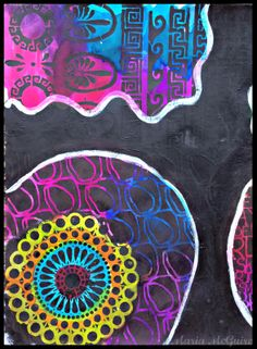 Art Journal page by Maria McGuire using a stencil from StencilGirl.