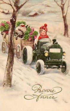 CARTES ANCIENNES DE NOUVEL AN enfant en voiturette