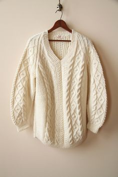 Ivory Wool Fishermans Sweater