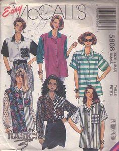 MOMSPatterns Vintage Sewing Patterns - McCall's 5808 Vintage 90's Sewing Pattern CRAZY WILD Oversized New Wave Blossom, Grunge Color Block Fabrics Oversized Shirt, Blouse Set Size S
