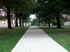 The path that leads to the Main Building and central campus