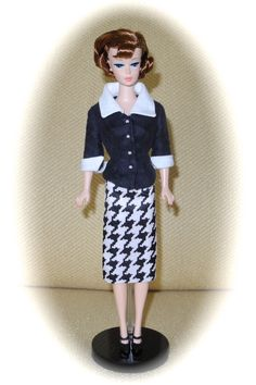 "Cool Collecting Barbie Doll wearing a suit that was custom made for me by Sylvia Bittner from the Etsy shop ""Hankie Chic."""