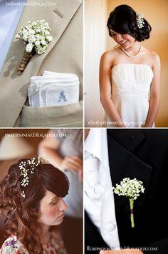 dekoracja ślubna wesela gipsówka pomysły butonierki kwiaty we włosach
