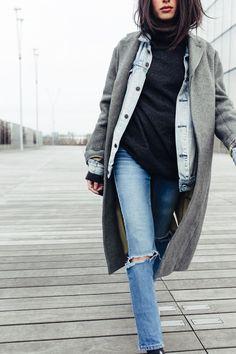 Fall /   Grey coat  Black turtleneck   Denim jacket   Light jeans   Fall spring winter
