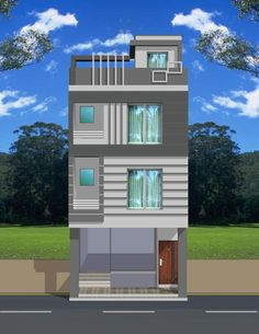 Front House Balcony Design, House Outer Design, Bungalow House Design, House Front Design, Front Elevation Designs, House Elevation, Small House Exteriors, House Map, Facade House