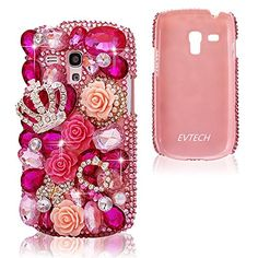 EVTECH(TM) Rose Flower 3D Handmade Crystal Bead Rhinestone Diamond Bling Cover Hard Case for Samsung Galaxy S3 Mini 8190(Not For SAMSUNG S3) (100% Handcrafted)