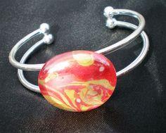 Marbled glass gem bangle, Flame bracelet, planet bracelet, rhubarb and custard bracelet, silver cuff bracelet, glass cabochon, gift for her.