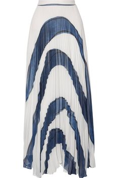 Alice Olivia - Shannon Asymmetric Pleated Printed Georgette Maxi Skirt - White - US12