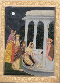 Bhairavi Ragini, late 18th century. Painting of a Mughal lady and her three companions visiting a lingam shrine at night. A nath yogi sits behind the lingam as the lady kneels to perform a ritual. This is possibly a representation of Bhairavi Ragini, often depicted as a female devotee performing worship (puja) at a shrine to Shiva.: Mughal Miniature Paintings, India Art, Love Images, Shiva, 18th Century, Worship, Miniatures, Indian, Female