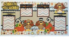 2 Premade Scrapbook Pages 12x12 Layout Paper Piecing Fall Thanksgiving Turkey Handmade Elite4U