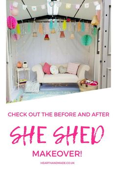 Are you in search or some she shed ideas? This she shed interior will serve as perfect inspiration for your very own she shed diy makeover! This is my own personal she shed craft cottage and I love it! If you were in need of some craft room ideas or inspiration then you might like this shed too! #makeover #shed #sheshed #shabbychic #readingnook #homedecor #readingroom