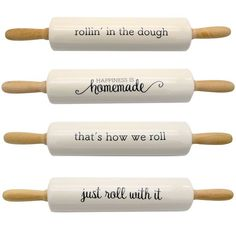 Farm Sayings Rolling Pin A timeless and functional addition to every baker's collection! Ceramic rolling pin features witty baking sayings and wood handles. Farm Quotes, Farm Sayings, Kitchen Sayings, Wood Burning Crafts, Wood Burning Patterns, New Crafts, Home Crafts, Farmhouse Rolling Pins, Rolling Pin Display