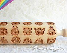 Disney TSUM TSUM pattern,Engraved rolling pin,,cookies,cookie cutter,cookie mold,Elsa,Anna,Frozen,Princess,Woody,snow white,Winnie,Piglet