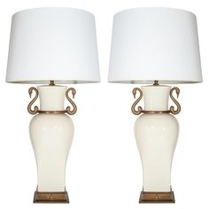 Pair of Elegant Porcelain Urn Swan Lamps by Chapman | From a unique collection of antique and modern table lamps at http://www.1stdibs.com/furniture/lighting/table-lamps/
