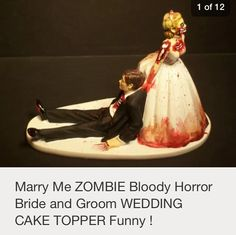 Zombie bride dragging groom topper. Exactly what i want at my wedding.