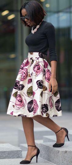 Alexandriah Sho-silva Floral Skirt Fall Street Style Inspo