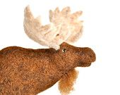 Needle Felted Bull Moose - made with brown wool - Beautiful Cabin or Lodge Decor