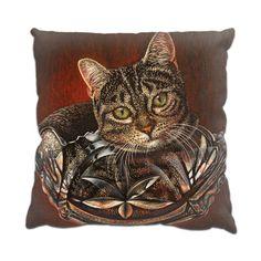 Cat in a Bowl  Funny Pet Cushion by simon-knott-fine-artist at zippi.co.uk