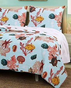 Nautical Ocean Sea Blue Luxury Bedding 100 Cotton Reversible 2 Piece Quilt Set Twin Size.    Coastal Beach nature theme luxury 3 Piece Reversible 100 Cotton Quilt cover set featuring printed Fish, Sea turtle, Starfish, Shell, Coral on a Blue background for a beautiful Seaside bedroom. #coastal #seaside