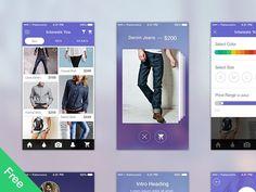 Shopping App - UI Kit Free designed by Inderjeet Singh. Ecommerce App, App Ui, Formal Shirts, Casual Shirts, Suit Card, Great Ads, Shop Front Design, Ui Inspiration, Ui Kit