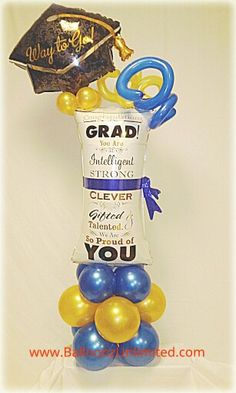 Send this graduation dipolma balloon tower bouquet to your graduate or use a decoration. Send this g Graduation Balloons, Graduation Decorations, Graduation Party Decor, Balloon Decorations Party, Baby Shower Decorations, Party Themes, Balloon Ideas, Balloon Designs, Balloon Tower