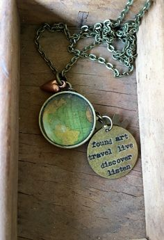 Globe Necklace Map World Travel Wanderlust Gift for Traveler Earth Nation by IndustrialWhimsy on Etsy https://www.etsy.com/listing/281053576/globe-necklace-map-world-travel