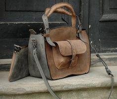 Leather Shoulder Bag with Clutch Set handmade bag by ladybuq