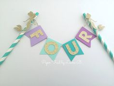 Under the Sea Mermaid Cake Topper.  Birthday Cake Decoration.  Photo Prop.  Gold…
