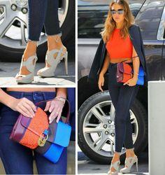 A Jessica Alba continua encantando com seus looks!💙💫 Neste, ela usa um mix de azul navy com cores fortes, como laranja e o azul claro. Adorei as cores e a combinação si. Muito fashion e criativa! #creative #fashion #style #jessicaalba