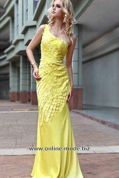 Diana Träger Abendkleid in Gelb von www.online-mode.biz