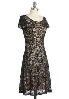 Simply Quintessential Dress. No wardrobe is complete without a go-to party dress like this noir A-line frock!  #modcloth - neck line would be better with a lightweight 'cording' so the lining doesn't pop out.