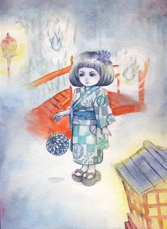 Items similar to Ghost spriit yurei girl in kimono watercolor original Asian Japanese style painting on Etsy Japanese Folklore, Japanese Style, Asian, Watercolor, Unique Jewelry, Handmade Gifts, Painting, Fictional Characters, Etsy
