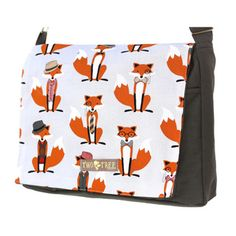 @Overstock - Handmade Medium Grey Bowtie Fox Messenger Bag - Brighten up your day with this bag featuring charming foxes dressed up with hats, ties and bow ties. The cotton lining lends the messenger bag extra durability, especially when you pack it full of diapers and baby wipes.  http://www.overstock.com/Main-Street-Revolution/Handmade-Medium-Grey-Bowtie-Fox-Messenger-Bag/9547256/product.html?CID=214117 $34.99