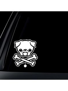 PUG Dog w/ Bone Car Decal / Sticker - White ❤ World Design