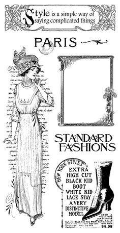 Graphic 45 - Hampton Art - Ladies' Diary Collection - Cling Mounted Rubber Stamps - Ladies Diary Two at Scrapbook.com $10.99