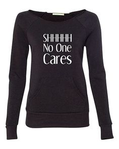 Because sometimes it's not appropriate to say it out loud. This stylish off-the-shoulder pullover modernizes the everyday sweatshirt with a raw-edge neckline and kangaroo front pocket. Each item is cu