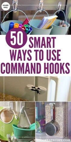 Command hooks are the best way to store and organize things in nearly every corner of your home! Because command hooks are removable and inexpensive, they've inspired people to come up with all kinds of hacks and ideas for using them, check out this list Organizing Hacks, Storage Hacks, Diy Storage, Kitchen Organization, Cleaning Hacks, Storage Ideas, Organization Ideas, Storage Solutions, Organising