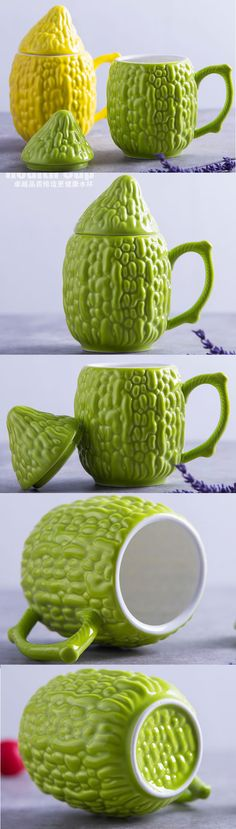 Ceramic Bitter gourd Coffee Cup Water Mug, to my friends! Cactus Ceramic, Novelty Mugs, Custom Mugs, Coffee Cups, 3d Printing, Ceramics, Gourd, Tableware, Gifts