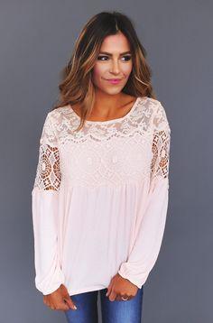 Peach Lace Neckline Top - Dottie Couture Boutique