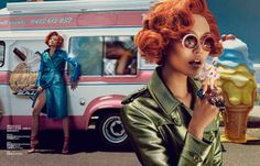 Ice Cream Truck Editorials - The Harper's Bazaar China 'Hot n' Cold' Photoshoot is Vibrantly S (GALLERY)