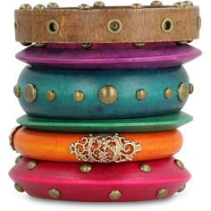 Set of Six Multi-Colored Assorted Wooden Bangle Bracelets, 7 Inches ($20) ❤ liked on Polyvore featuring jewelry, bracelets, accessories, bangles, wood bangles, heart jewelry, colorful jewelry, colorful bangles and wooden bangle bracelet