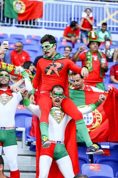 Portugal supproters during the UEFA Euro 2016 Semi Final match between Portugal and Wales at Stade des Lumieres on July 6 2016 in Lyon France Soccer Fans, Football Soccer, Portugal Euro, Portugal Soccer, Soccer Motivation, Uefa Euro 2016, We Are The Champions, 2016 Pictures, Lyon France