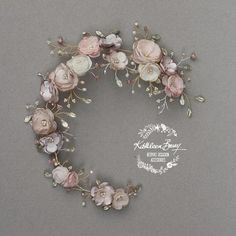 Jane Bridal WEDDING FLOWER CROWN Hair Piece in Champagne & Muted tones stone blush pink ivory taupe kathleen barry, also available on Etsy at https://www.etsy.com/shop/KathleenBarryJewelry