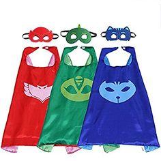 PJ MASKS Superhero Cape and Mask Set Dress Up Costume 3 Characters - Catboy, Gekko & Owlette