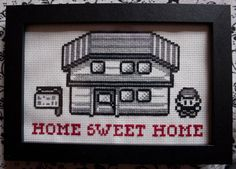 This is a PDF pattern for you to stitch your own Home Sweet Home Pokémon sampler. It features Ash Ketchum outside his home (à la the Red / Blue versions of Pokémon for the Gameboy).  This cross-stitch pattern is 97 x 63 stitches and is comprised of whole stitches only, so its suitable for most skill levels. It will measure: • 5½ x 3½ inches on 18 count aida • 7 x 4½ inches on 14 count aida  The PDF contains a coloured grid pattern and a key featuring the four DMC colours used, in additio...