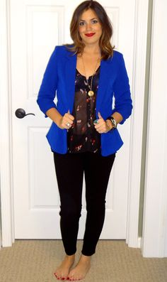 Blue Blazer, Black Printed Sheer Blouse, Black Jeans, Gold Accessories, & Red Lip. Great fall outfit for casual occasion or for work.