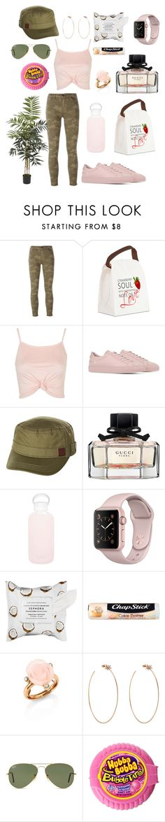 """🍰"" by breeyvonne ❤ liked on Polyvore featuring J Brand, Topshop, Common Projects, Roxy, Gucci, bkr, Sephora Collection, Chapstick, Oscar de la Renta and Diane Kordas"