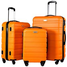 Coolife Luggage 3 Piece Set Spinner Trolley Suitcase Hard Shell Lightweight Carried On Trunk 20inch 24inch 28inch(orange)$99.99
