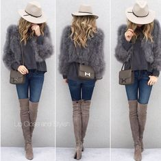 Grey or taupe over the knee boots, blue jeans, grey tops, faux fur and a cream hat
